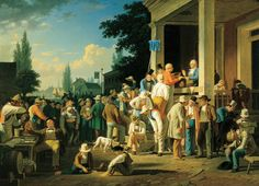 """""""The County Election"""" century American Paintings: George Caleb Bingham Pictures Of America, Norman Rockwell Paintings, Hudson River School, River Painting, Art Party, American Artists, Art History, History Images, Paintings"""