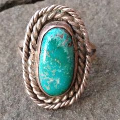 """Beautiful Vintage Silver Turquoise Ring Just Gorgeous Oval Stone, Natural Turquoise, 11x17mm, Bezel set and Double Rope Design, Split Shank, Sterling Silver (tested) lots of interesting markings & Initials underneath, Head of ring is 1"""" X 5/8"""", If Native American, Affiliation not known! Lovely Ring! Jewelry Rings"""