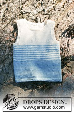 Little Mate / DROPS Children - Knitted singlet with stripes in DROPS BabyMerino. For baby and children in sizes 0 - 6 years. Baby Knitting Patterns, Knitting For Kids, Baby Patterns, Free Knitting, Drops Design, Baby Barn, Knit Vest Pattern, Baby Vest, Boys Sweaters