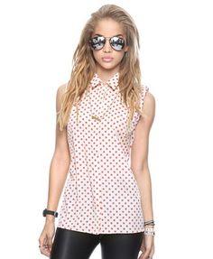 Sleeveless Polka Dot Shirt | FOREVER21 - 2000043159