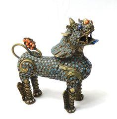 Vintage Tibetan Filigree Brass Turquoise Coral Inlaid SNOW LION Figurine Nepal