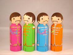 The Beatles Sgt Pepper Wood Peg Doll People. $64.00, via Etsy.