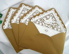 Kraft  Doily Lace Lined Envelopes, Vintage, Handmade, Shabby Chic Wedding Invitaion Envelopes A7 Size 10 Piece Set on Etsy, $17.99