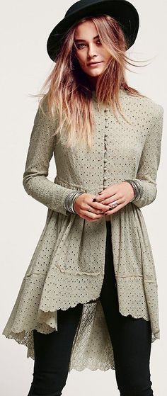 Free People Eyelet Duster at Free People Clothing Boutique Look Fashion, Indian Fashion, Girl Fashion, Fashion Outfits, Womens Fashion, Kurta Designs, Blouse Designs, Estilo Hippie Chic, Estilo Boho