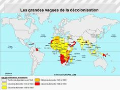 Carte des grandes étapes de la décolonisation entre 1945 et 1990: de l'Asie à l'Océanie, en passant massivement par l'Afrique. Source: © HISTGEOGRAPHIE.COM, d'après La fin des Empires coloniaux de Jefferson à Mandela, Les Collections de l'Histoire n°49, 2010