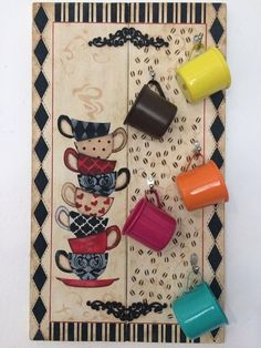 Very beautiful, loved this pallet. Coffee Bar Home, Coffee Art, Wood Crafts, Diy And Crafts, Wood Projects, Craft Projects, Coffee Mug Display, Pallet Painting, Coffee Signs
