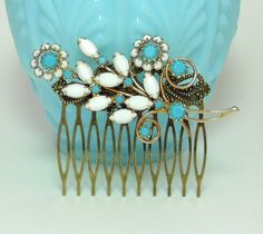 White and Blue Hair Comb, Something Blue, Something Old, Bridal Hair Comb, Wedding Hair Comb, Vintage Brooch, Art Deco Hair Comb by LisamariesPiece
