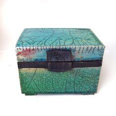 Raku ceramic box, emerald glaze with copper and crome Jill E Rosenberg. SOLD