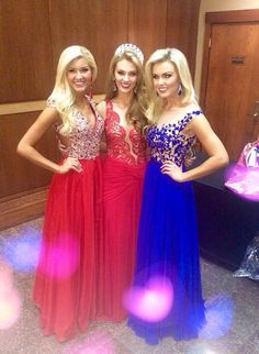 Phi Mus Christine Williamson (Miss Smokey Mountains) and Kendall Pasley with Ole Miss and Phi Mu alum Courtney Byrd (Miss Mississippi USA) at Parade of Beauties at Ole Miss