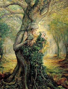 """""""The Dryad and the Tree Spirit"""" - Oil painting by Josephine Wall, a popular English fantasy artist and sculptor. Josephine Wall, Beltaine, Oracle Cards, Tree Art, Mythical Creatures, Forest Creatures, Mother Earth, Mother Nature, Urban Art"""