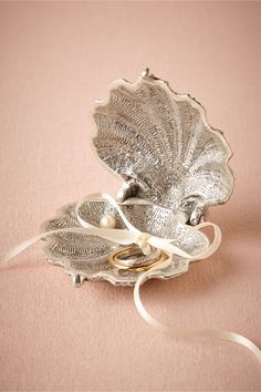 Silvery Seashell Ring Holder in Décor View All Décor at BHLDN