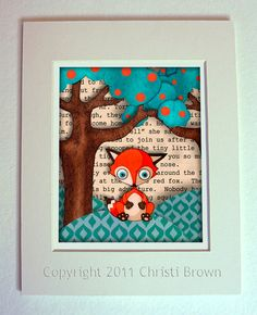 Sweet fox art for woodland nursery - Baby Red Fox Nursery Animal Art Print On by ApplewoodKnoll on Etsy, $25.00