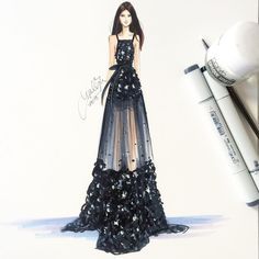 """To capture the sparkle and shine of this @eliesaabworld dress, I used @copicmarker Opaque White paint and applied it with a detail brush✨ #fashionsketch…"""
