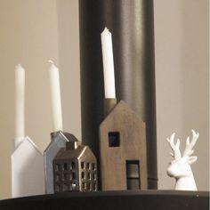 Bougeoir maison en métal blanc