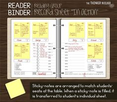 The Thinker Builder: Guided Reading Tracking Readers In a Sustainable, Simple, & Significant Way Guided Reading Binder, Reading Notes, Reading Lessons, Teaching Reading, Teaching Ideas, Close Reading, Reading Resources, Kindergarten Reading, Creative Teaching