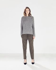 DRAWSTRING TROUSERS from Zara - khaki