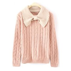 Pink Long Sleeve Bow Neck Serratula Pullovers Sweater ($31) ❤ liked on Polyvore