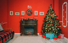 Download wallpapers Merry Christmas, fireplace, interest, gifts, decoration, Christmas tree