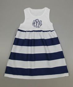 Another great find on #zulily! White & Navy Monogram Tank Dress - Infant by Princess Linens Layette #zulilyfinds