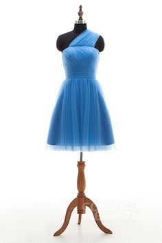 New Design A-Line Natural Short-Mini Tulle Sky Blue Sleeveless Lace Up-Corset Convertible Bridesmaid Dress COLM16001