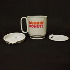 Dunkin 039 Donuts Grey Mug Stay in place Rare Whirley Grey Mugs, Dunkin Donuts, Tableware, Places, Dinnerware, Dishes, Lugares
