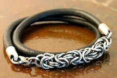 Diana Ferguson - Work Detail: Men's Sterling Silver and Leather Chain Link Bracelet #chainmaille #jewelry-making