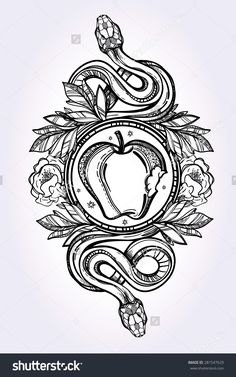 Hand-drawn vintage tattoo art. Vintage symbol, detailed hand drawn forbidden apple and tempter serpent, element of a Biblical story of Eve, sin temptation linear style. Engraved isolated vector art. #281547629