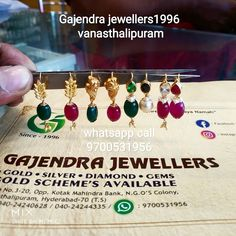Stunning gold ear rings with ruby emerald and pearl hangings. Jewelry Design Earrings, Gold Earrings Designs, Gold Jewellery Design, Bead Jewellery, Gold Designs, Gold Jewelry, Baby Jewelry, India Jewelry, Antique Jewellery