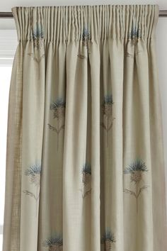 Embroidered Thistle Pencil Pleat Curtains from the Next UK online shop