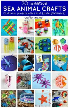 Tons of ideas here! Creative sea animal crafts and activities are best for kids- toddlers, preschoolers and kindergartners to make ocean creatures like turtle, jellyfish, reef Kids Crafts, Sea Crafts, Diy And Crafts Sewing, Toddler Crafts, Preschool Crafts, Projects For Kids, Art Projects, Galaxy Projects, Spring Projects