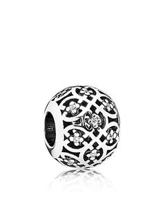 PANDORA Charm - Sterling Silver & Cubic Zirconia Intricate Lace   Bloomingdale's