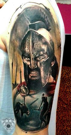 300 warrior tattoo by Andres. Limited availability at Salvation Tattoo Studios. Bad Wolf Tattoo, 3d Tattoos For Men, Gladiator Tattoo, Salvation Tattoo, Roman Warriors, Tattoo Parlors, Tattoo Studio, Illustration Art, Drawings