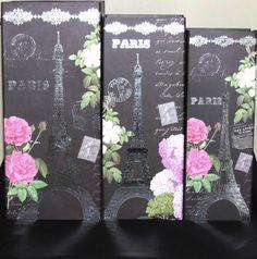 Vtg/Shabby Chic Eiffel Tower Paris France Storage/Jewellery/Trinket/Gift Box Set