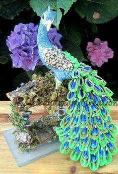 Peacock with kanzashi tail.
