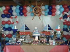 Huge nautical theme birthday party featured party for Anchor balloon decoration