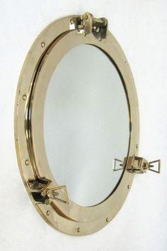 "Solid Brass Ship's Porthole Mirror, 20"" Nautical Wall Decor"