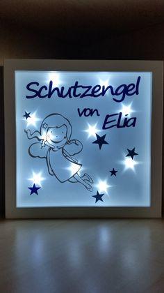 """Wandgestaltung - Beleuchteter Bilderrahmen """" Schutzengel """" blau - ein Designerstück von Firlefanz-Unna bei DaWanda"""