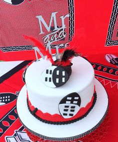 Red & Black Swazi traditional wedding cake at Shonga Events