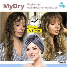 Using a Rapid Drying Hair Towel can cause a lot of damage to your hair. This dry hair cap can make your hair dry in five minutes. It only takes five minutes. Hair Blower, Rides Front, Towel Wrap, Towel Set, Magic Hair, Split Ends, Quick Hairstyles, Hairstyles Videos, Bridal Hairstyles