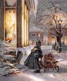 """Star of Wonder"" by Trisha Romance. Love Trisha Romance she is a great artist:) Christmas Scenes, Noel Christmas, Victorian Christmas, Vintage Christmas Cards, Christmas Pictures, Christmas Greetings, Winter Christmas, Christmas Child, Christmas Candles"