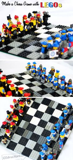 DIY LEGO chess game board and pieces - 100 Directions Lego Board Game, Board Game Pieces, Lego Boards, Board Games For Kids, Lego Pieces, Chess Boards, Chess Pieces, Summer Activities For Toddlers, Zoo Activities