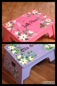 Childs Step Stool Custom Personalized Youth Chair Hand Painted