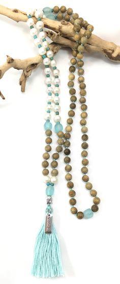 FREE Canada shipping. Namaste mala. 108 prayer beads. 108 beads mala. Long necklace. Tassel necklace. Ocean jewelry. Layered bracelet. Gift. 88CAD