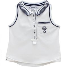 23fcf9e4be7d Designer Tennis White Polo Top Girls Navy