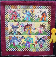Quilt Inspiration --wonky houses by Martha Baltran. The original house design was inspired by hairdos, curls, and colors. Buds and flowers were created to give it life and humor. House Quilt Patterns, House Quilt Block, Applique Quilt Patterns, House Quilts, Quilt Blocks, Fabric Houses, Small Quilts, Mini Quilts, Baby Quilts