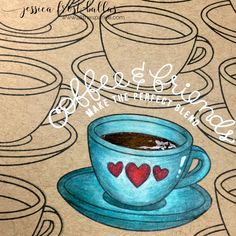 SSS Coffee and Tea stamp set. Stamped the cups in a pattern across a pc of kraft cs. I chose one cup and stamped the included hearts on the side of the cup. I colored it with colored pencils.  Sentiment heat-embossed w white EP.  I added a layer of spectrum noir clear sparkle to the hearts, a layer of glossy accents to the coffee, and a little highlight with a white gel pen. I trimmed the kraft cs down and layered it onto a pc of patterned paper