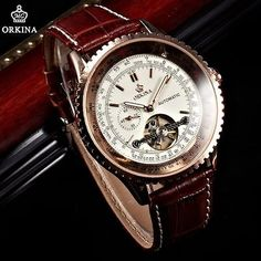 ORKINA Golden Tourbillion Automatic Mechanical Steampunk Luxury Mens Watch