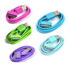 Amazon.com: Case Star 5pcs (Hot Pink, Green, Purple, Aqua Blue, Turquoise Blue) 3Ft USB Charge and Sync Data Cable for Apple iPhone 3G 3GS 4 4S iPod nano iPod touch iPad 1/2/3 + Case Star Cellphone Bag: Cell Phones & Accessories