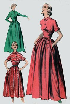 1950s Vintage Sewing Pattern Advance 5745 Mademoiselle Asymmetrical Bodice Housecoat with FULL Skirt Size 12