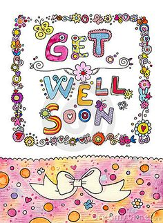 Cute design with hand lettering saying Get Well Soon and lots of cute details. Suitable for greeting cards.